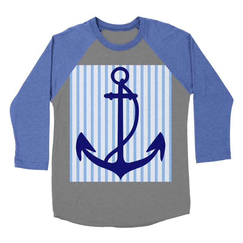 Nautical stripes and anchor Men's Baseball Triblend T-Shirt by snapdragon64's Shop
