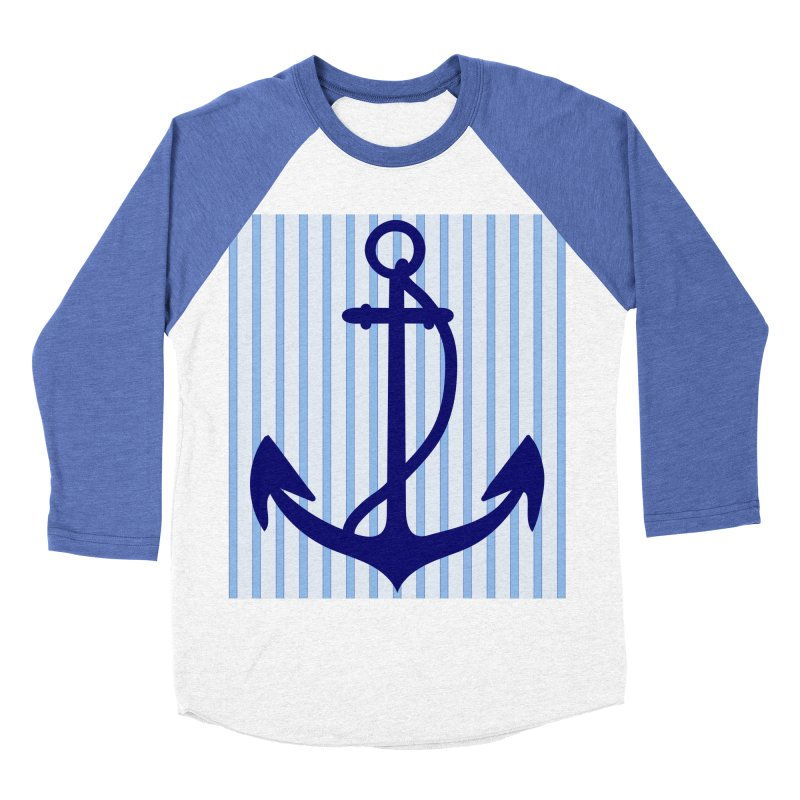 Nautical stripes and anchor Men's Baseball Triblend Longsleeve T-Shirt by snapdragon64's Shop