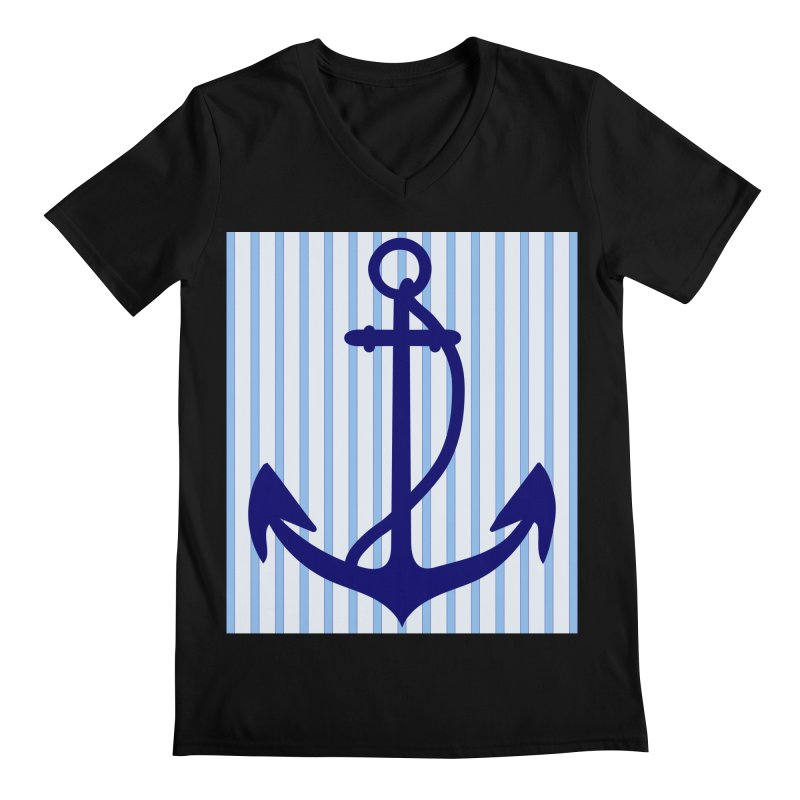 Nautical stripes and anchor Men's Regular V-Neck by snapdragon64's Shop