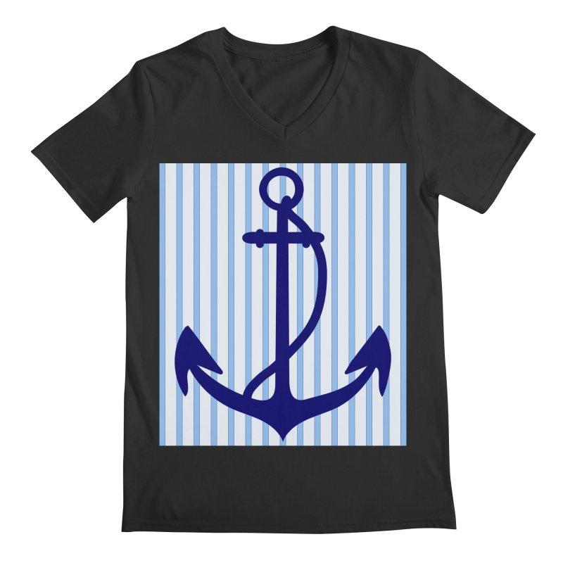 Nautical stripes and anchor Men's Regular V-Neck by snapdragon64's Shop