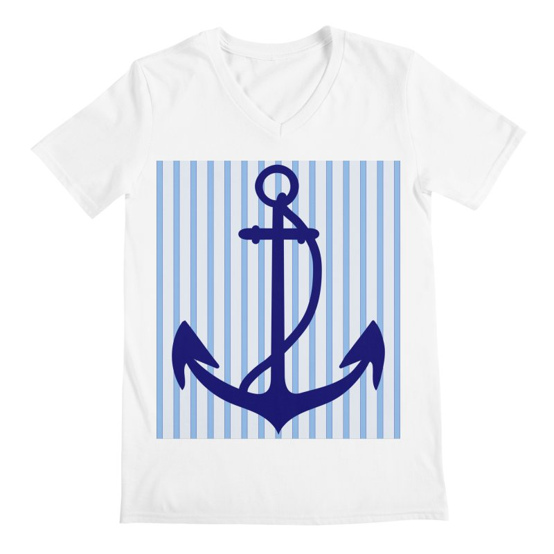 Nautical stripes and anchor Men's V-Neck by snapdragon64's Shop