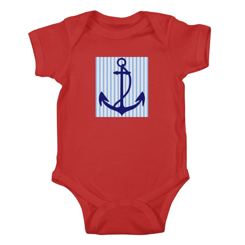 Nautical stripes and anchor Kids Baby Bodysuit by snapdragon64's Shop