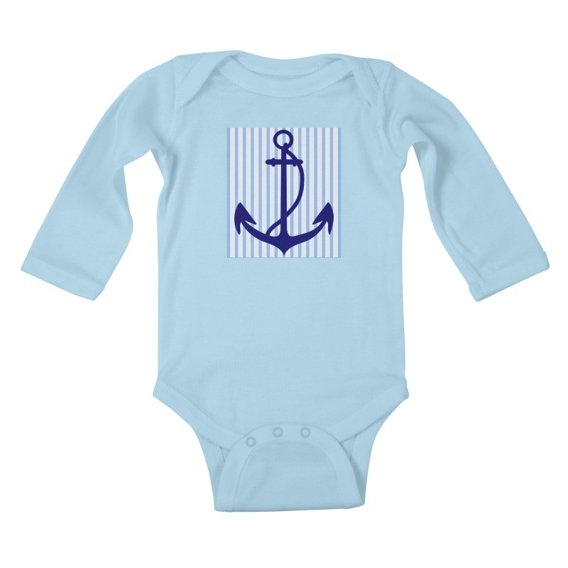 Nautical stripes and anchor Kids Baby Longsleeve Bodysuit by snapdragon64's Shop