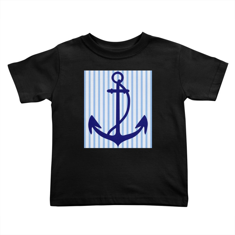 Nautical stripes and anchor Kids Toddler T-Shirt by snapdragon64's Shop