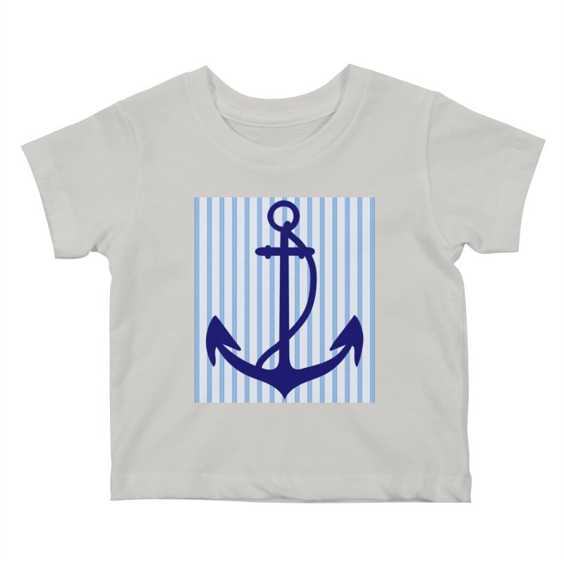 Nautical stripes and anchor Kids Baby T-Shirt by snapdragon64's Shop