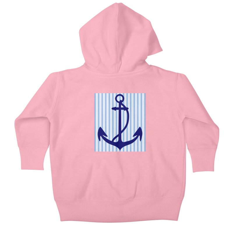 Nautical stripes and anchor Kids Baby Zip-Up Hoody by snapdragon64's Shop
