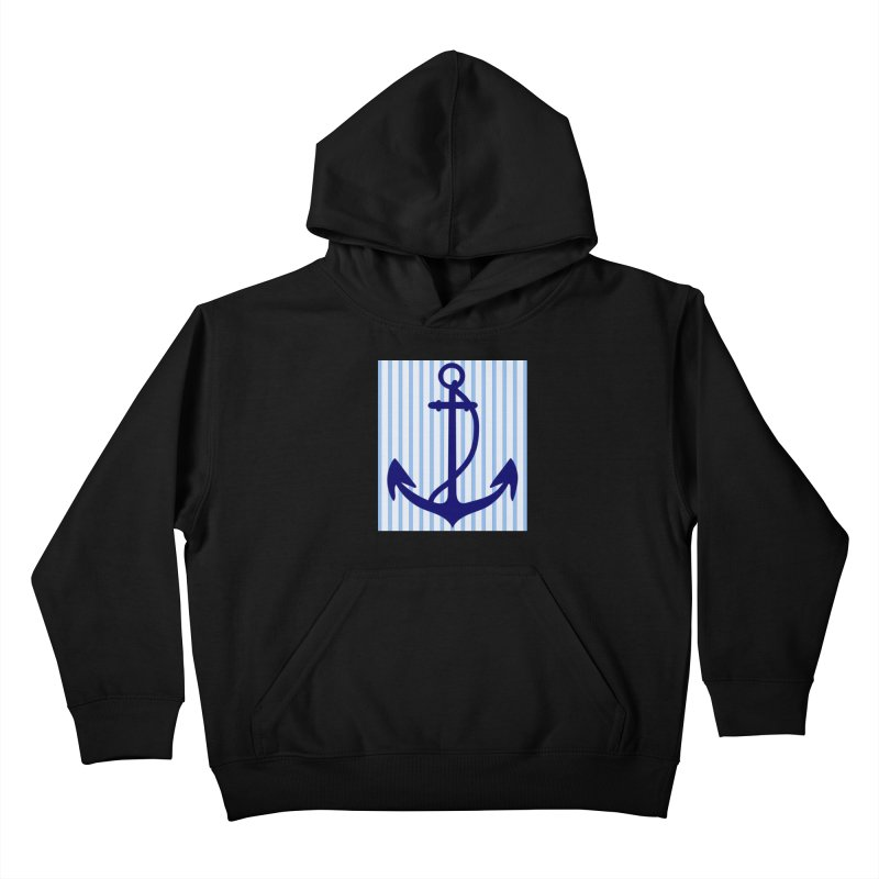 Nautical stripes and anchor Kids Pullover Hoody by snapdragon64's Shop
