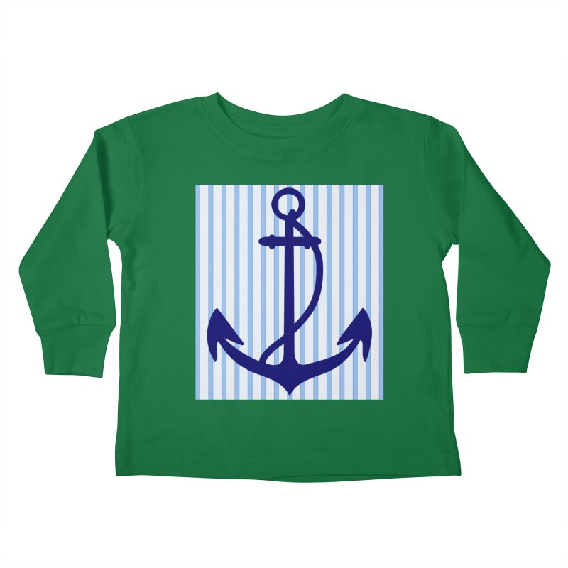 Nautical stripes and anchor Kids Toddler Longsleeve T-Shirt by snapdragon64's Shop