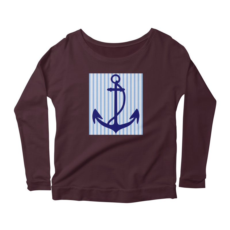 Nautical stripes and anchor Women's Longsleeve T-Shirt by snapdragon64's Shop