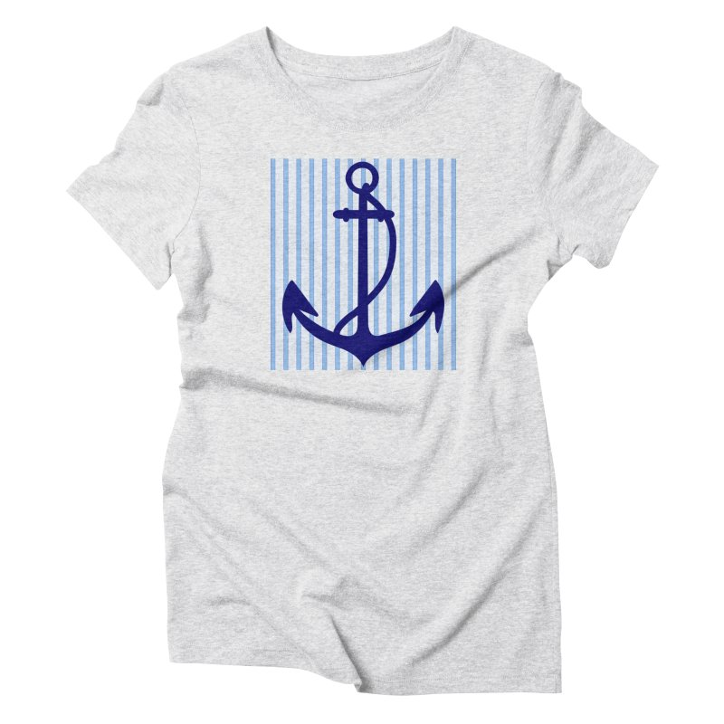 Nautical stripes and anchor Women's T-Shirt by snapdragon64's Shop