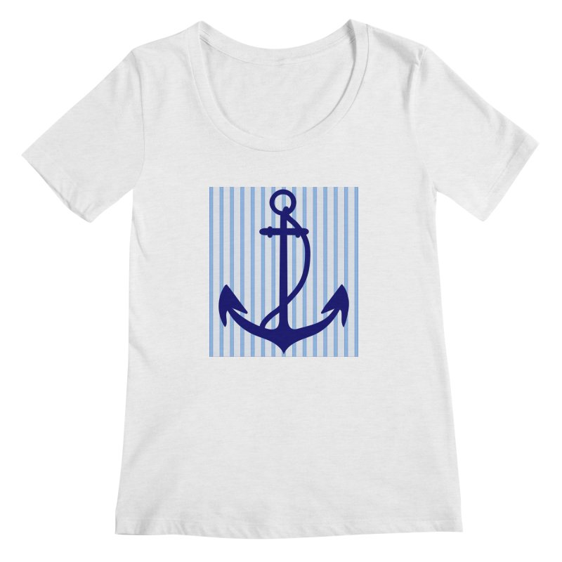 Nautical stripes and anchor Women's Regular Scoop Neck by snapdragon64's Shop