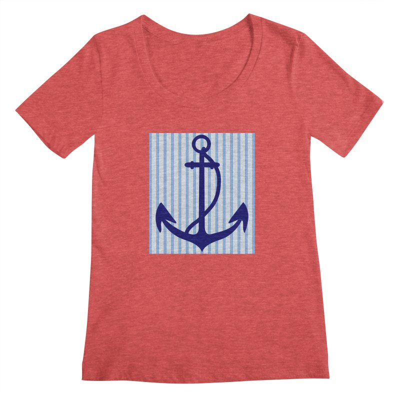 Nautical stripes and anchor Women's Scoopneck by snapdragon64's Shop
