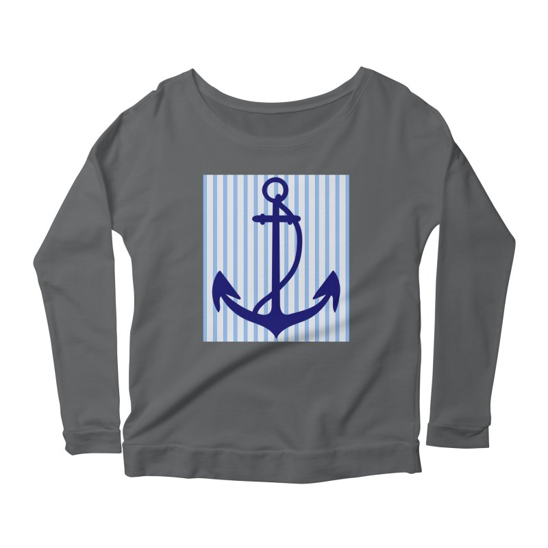 Nautical stripes and anchor Women's Scoop Neck Longsleeve T-Shirt by snapdragon64's Shop