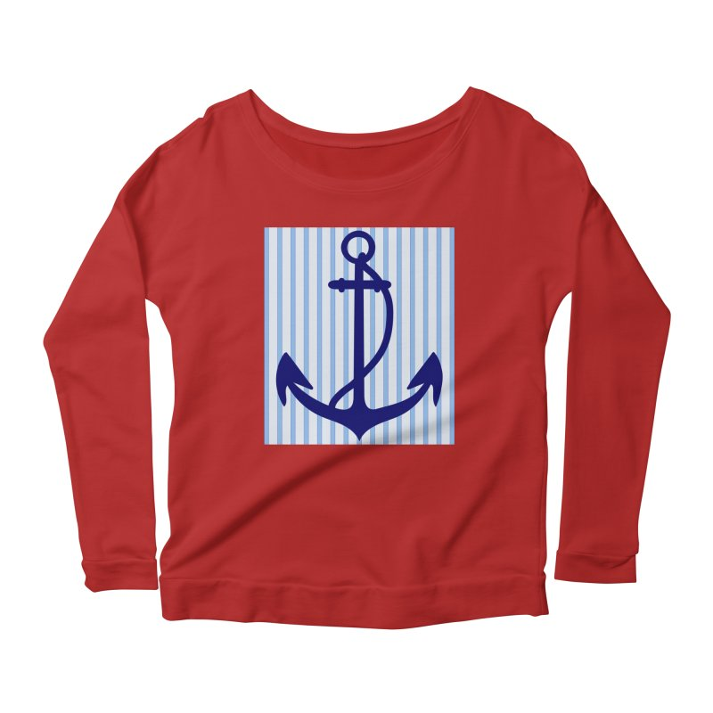 Nautical stripes and anchor Women's Longsleeve Scoopneck  by snapdragon64's Shop