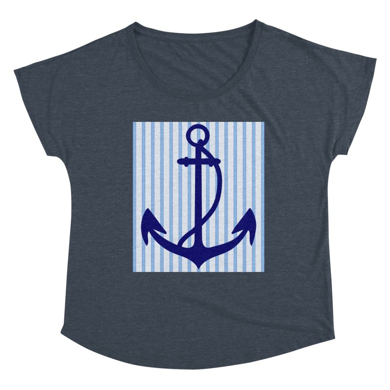 Nautical stripes and anchor Women's Dolman Scoop Neck by snapdragon64's Shop