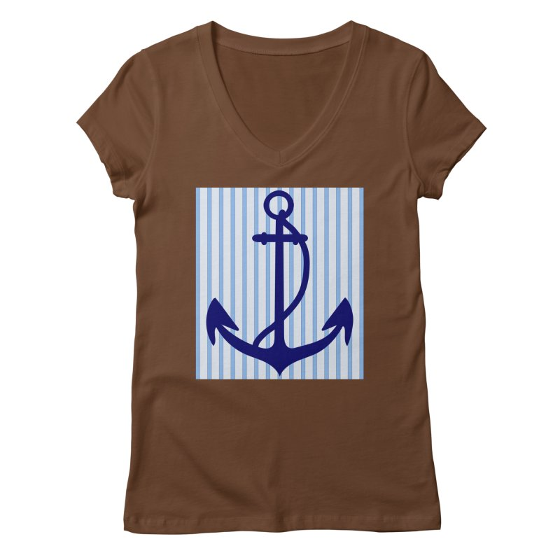 Nautical stripes and anchor Women's Regular V-Neck by snapdragon64's Shop