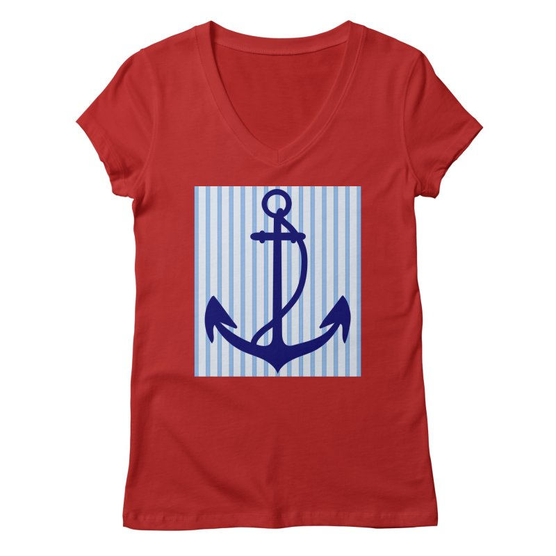 Nautical stripes and anchor Women's V-Neck by snapdragon64's Shop