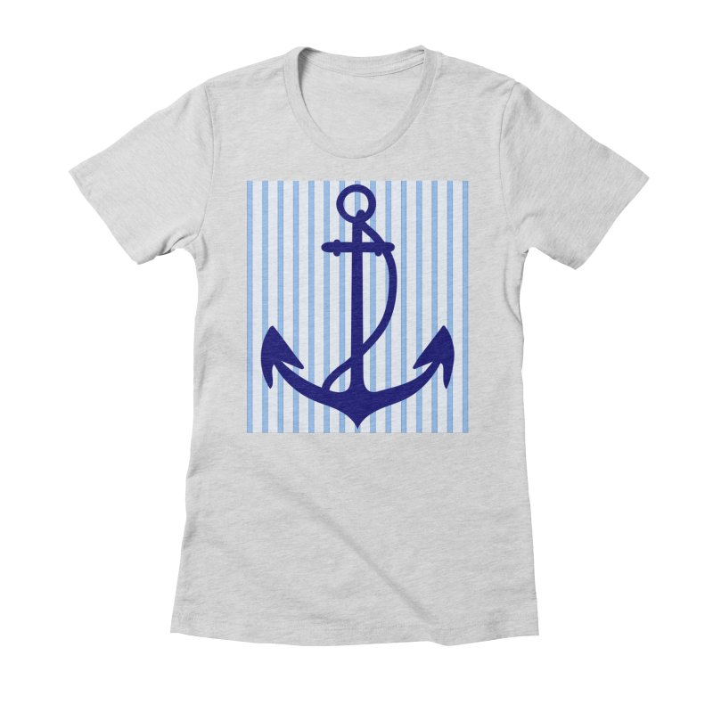 Nautical stripes and anchor Women's Fitted T-Shirt by snapdragon64's Shop