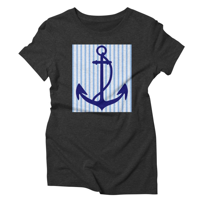 Nautical stripes and anchor Women's Triblend T-shirt by snapdragon64's Shop