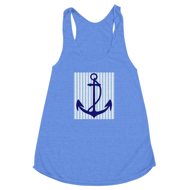Nautical stripes and anchor Women's Racerback Triblend Tank by snapdragon64's Shop