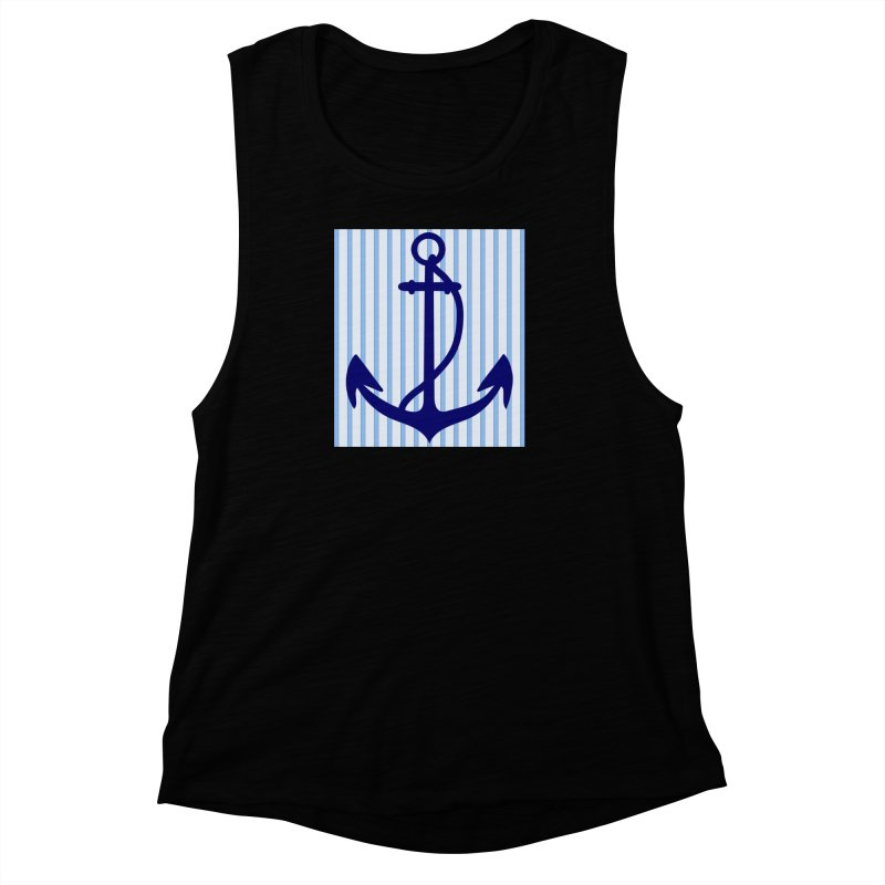 Nautical stripes and anchor Women's Muscle Tank by snapdragon64's Shop