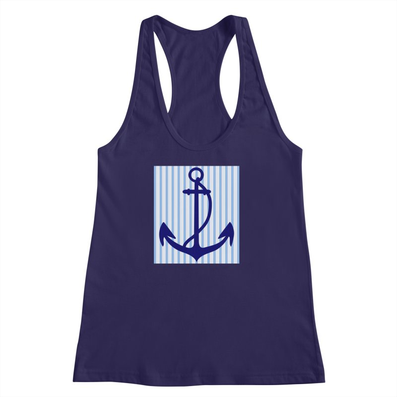 Nautical stripes and anchor Women's Racerback Tank by snapdragon64's Shop