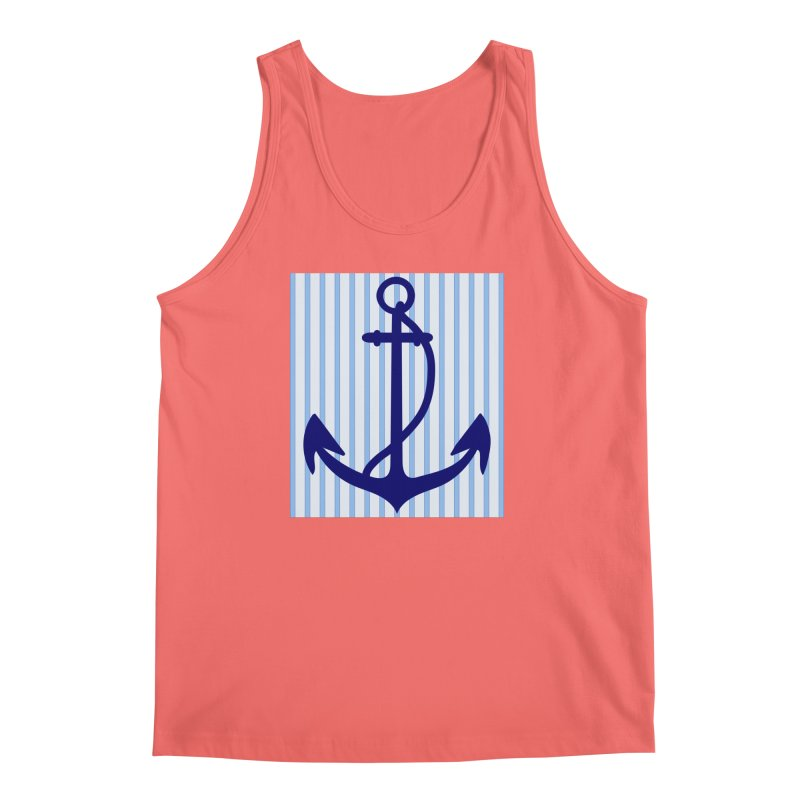 Nautical stripes and anchor Men's Tank by snapdragon64's Shop
