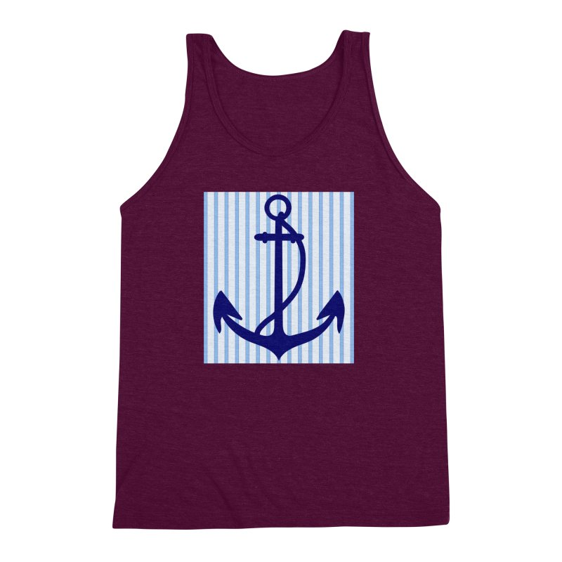 Nautical stripes and anchor Men's Triblend Tank by snapdragon64's Shop