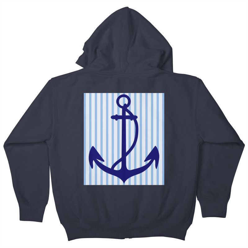Nautical stripes and anchor Kids Zip-Up Hoody by snapdragon64's Shop