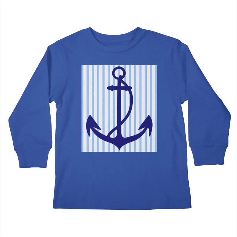 Nautical stripes and anchor Kids Longsleeve T-Shirt by snapdragon64's Shop
