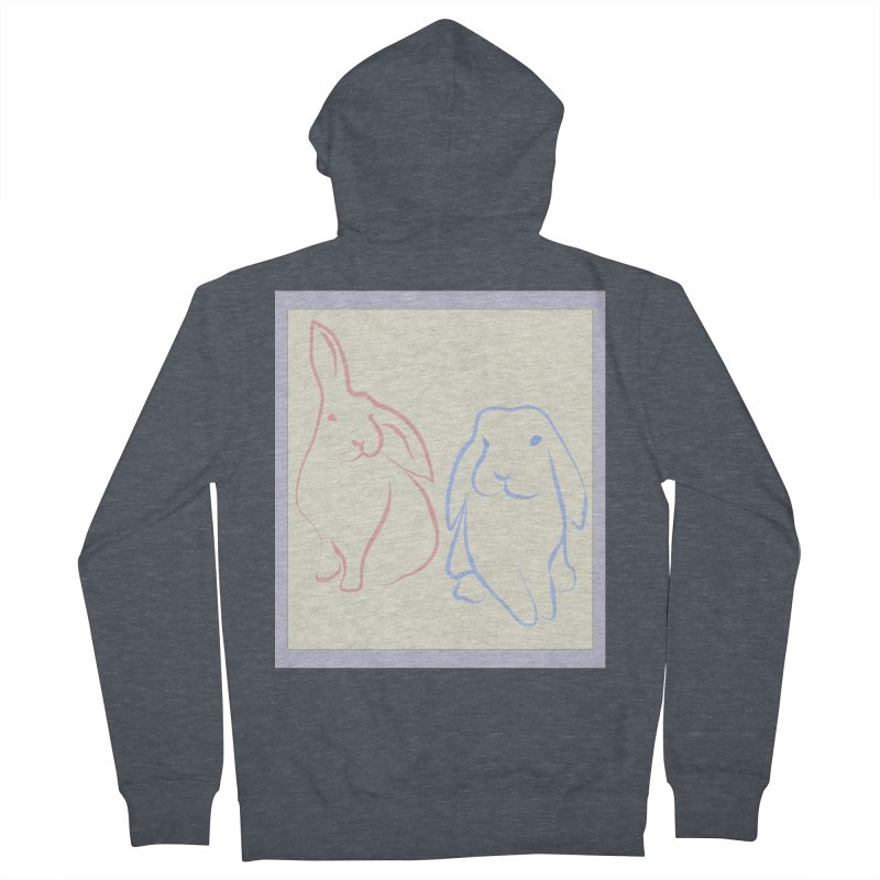 Drawing of two rabbits, in colour. Women's Zip-Up Hoody by snapdragon64's Shop