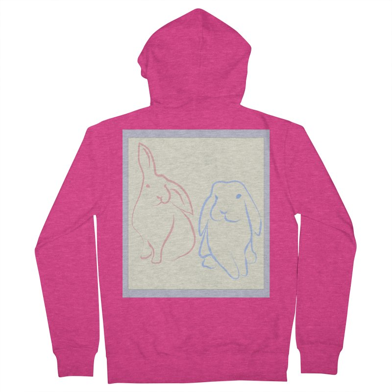 Drawing of two rabbits, in colour. Women's French Terry Zip-Up Hoody by snapdragon64's Shop