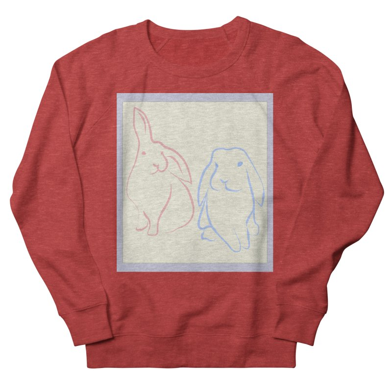 Drawing of two rabbits, in colour. Women's French Terry Sweatshirt by snapdragon64's Shop