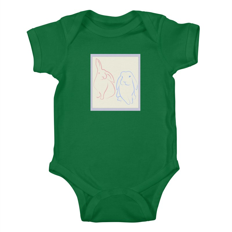 Drawing of two rabbits, in colour. Kids Baby Bodysuit by snapdragon64's Shop