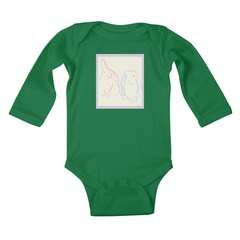 Drawing of two rabbits, in colour. Kids Baby Longsleeve Bodysuit by snapdragon64's Shop