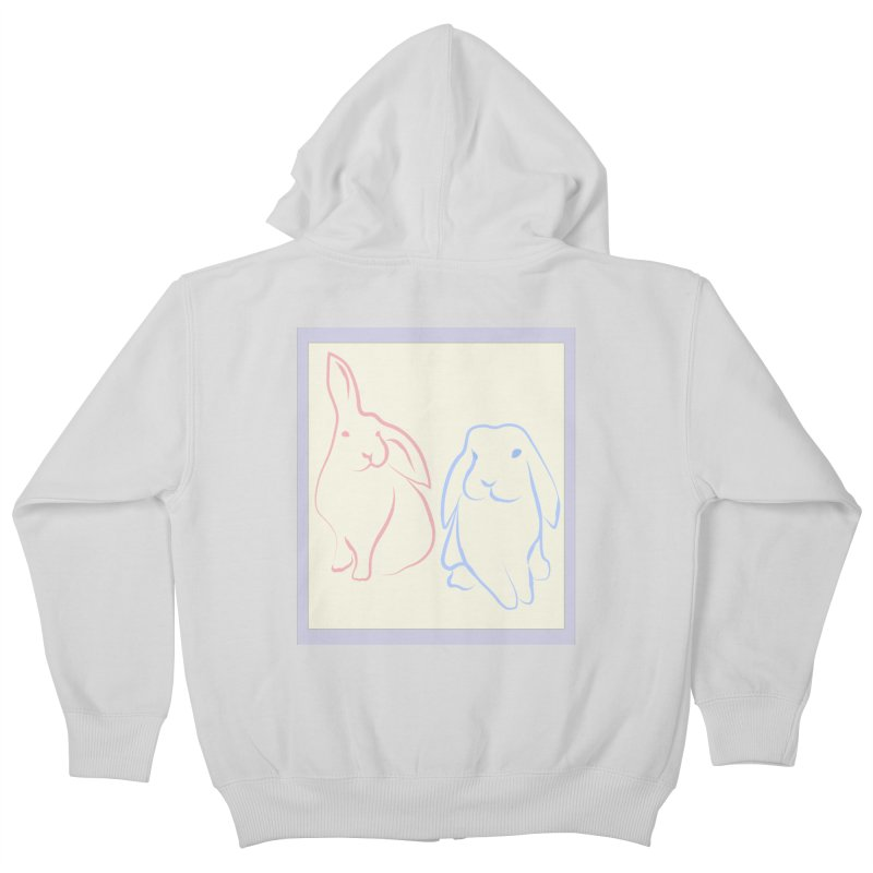 Drawing of two rabbits, in colour. Kids Zip-Up Hoody by snapdragon64's Shop
