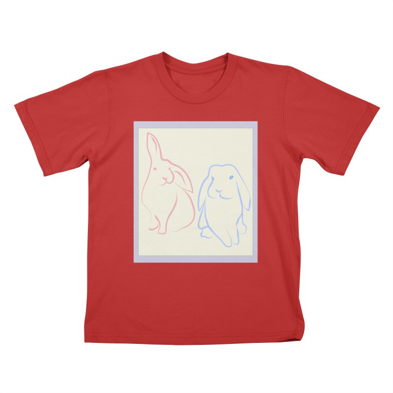 Drawing of two rabbits, in colour. Kids T-Shirt by snapdragon64's Shop