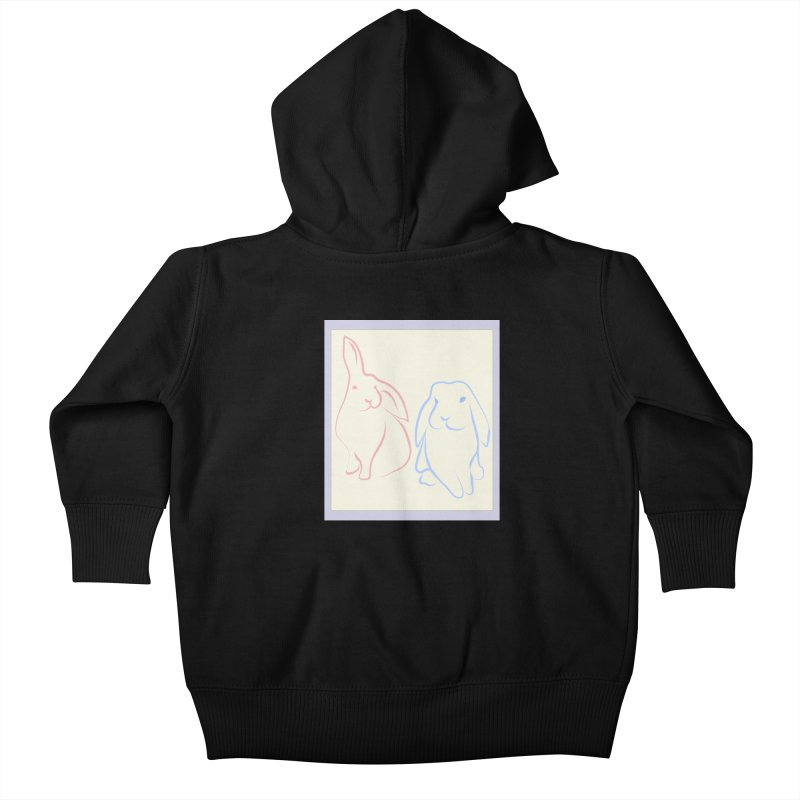 Drawing of two rabbits, in colour. Kids Baby Zip-Up Hoody by snapdragon64's Shop