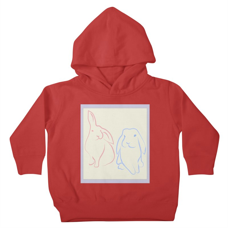 Drawing of two rabbits, in colour. Kids Toddler Pullover Hoody by snapdragon64's Shop