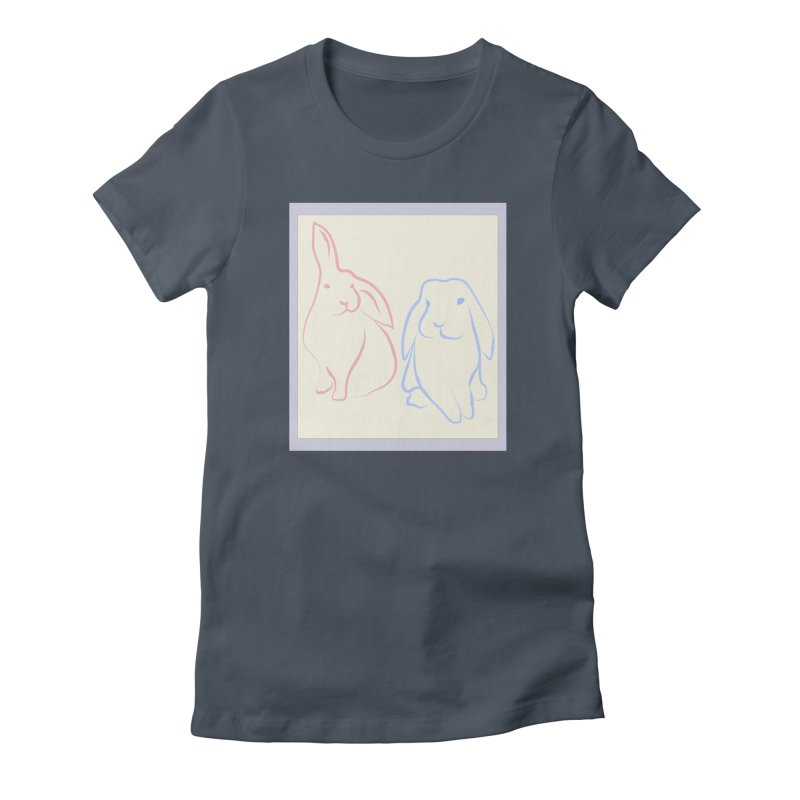 Drawing of two rabbits, in colour. Women's T-Shirt by snapdragon64's Shop