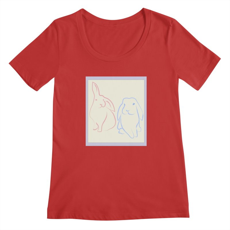 Drawing of two rabbits, in colour. Women's Regular Scoop Neck by snapdragon64's Shop