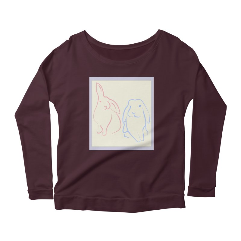 Drawing of two rabbits, in colour. Women's Scoop Neck Longsleeve T-Shirt by snapdragon64's Shop