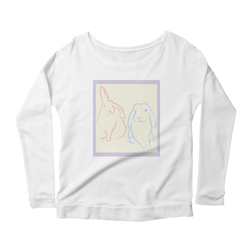 Drawing of two rabbits, in colour. Women's Longsleeve Scoopneck  by snapdragon64's Shop