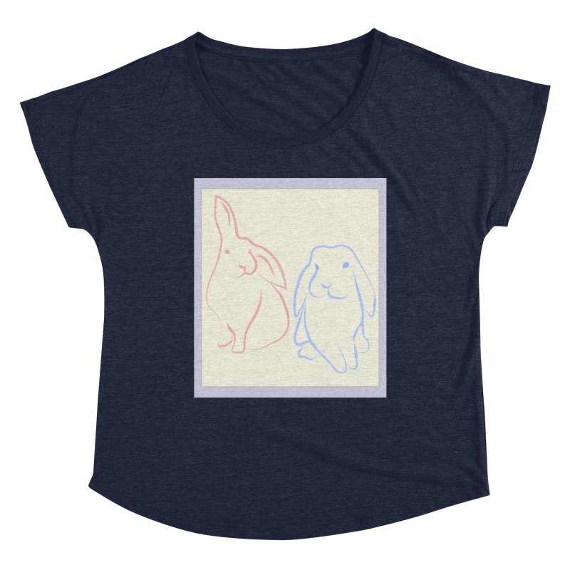 Drawing of two rabbits, in colour. Women's Dolman Scoop Neck by snapdragon64's Shop