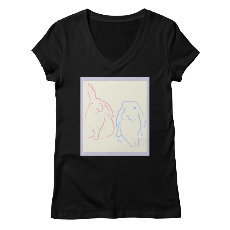 Drawing of two rabbits, in colour. Women's V-Neck by snapdragon64's Shop