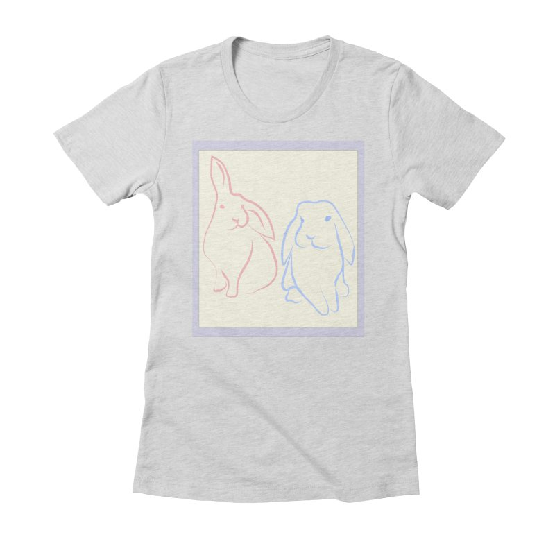 Drawing of two rabbits, in colour. Women's Fitted T-Shirt by snapdragon64's Shop