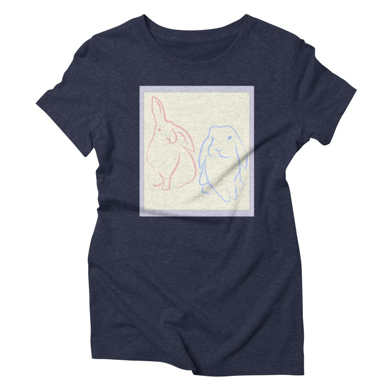 Drawing of two rabbits, in colour. Women's Triblend T-shirt by snapdragon64's Shop