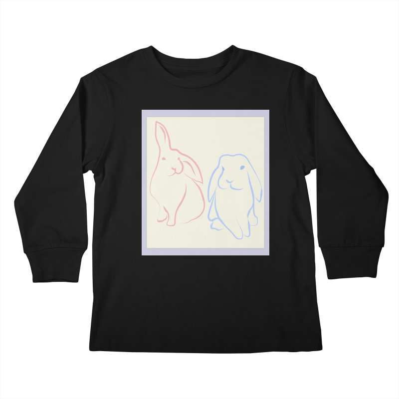 Drawing of two rabbits, in colour. Kids Longsleeve T-Shirt by snapdragon64's Shop
