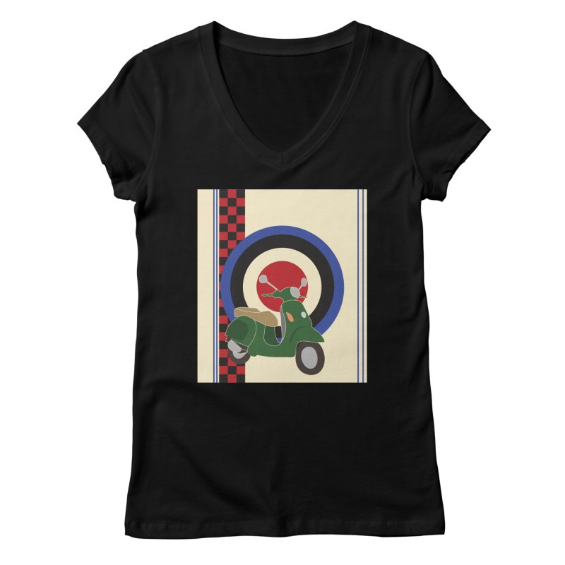 Mod scooter with symbols Women's V-Neck by snapdragon64's Shop