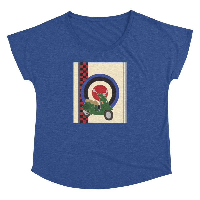 Mod scooter with symbols Women's Dolman Scoop Neck by snapdragon64's Shop